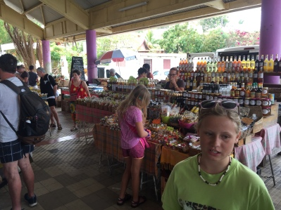 Local market shopping in St. Anne getting ready to party!